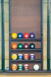 Stand for billiard balls arranged in order, background royalty free stock photography