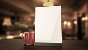 Stand for booklets white sheets of paper acrylic table Stock Photos