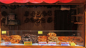 Stand with buns at the christmas fair in Bergamo Royalty Free Stock Images
