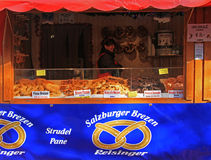 Stand with buns at the christmas fair in Bergamo Stock Photo