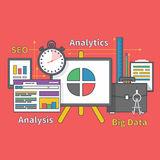 Stand with Charts and Parameters. Big Data Seo Stock Photo
