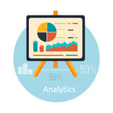 Stand with charts and parameters. Business concept of analytics Stock Photography