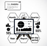 Stand with Charts and Parameters. Business concept of analytics. Poster banner on white background. Presentation and analysis, rating and performance Stock Images
