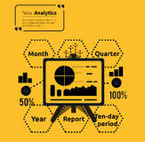Stand with Charts and Parameters. Business concept of analytics. Poster banner on yellow background. Presentation and analysis, rating and performance Royalty Free Stock Images