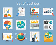 Stand with charts and parameters. Business concept of analytics. Stand with charts and parameters. Set of various financial service items business management Royalty Free Stock Photography