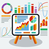 Stand with charts and parameters. Stand with charts graphs and parameters. Business concept of analytics Stock Photography