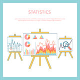 Stand with charts and parameters. Stand with charts graphs and parameters. Statistic business concept of analytics Stock Image
