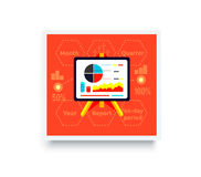 Stand with Charts and Parameters. On red. Business concept of analytics. Poster banner on white background. Presentation and analysis, rating and performance Stock Photos