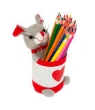 Stand with colored pencils. On a white background isolated Royalty Free Stock Photos