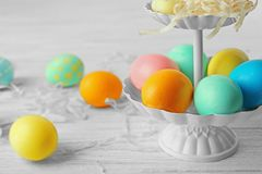 Stand with colourful Easter eggs royalty free stock image