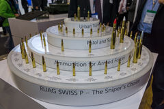 The stand the company RUAG Ammotec. BERLIN, GERMANY - JUNE 01, 2016: The stand the company RUAG Ammotec, manufacturer of small arms ammunition up to 12.7 mm for Royalty Free Stock Images