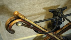 Stand for crutches. Close up of the stand in vintage style for old-fashioned walking stick. Wooden walking sticks in different patterns stock footage