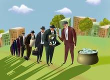 Stand d'hommes d'affaires dans une file d'attente pour l'argent. Photo libre de droits