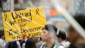 We stand for democracy. A Statement from Umbrella Revolution, Hong Kong royalty free stock image