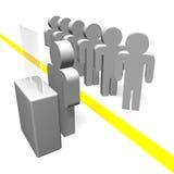 Stand derrière la ligne jaune illustration de vecteur