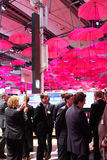 The stand of Deutsche Telekom on March 13, 2014 at CEBIT computer expo, Hannover, Germany. CeBIT is Stock Photo
