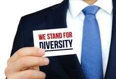We stand for diversity. Card message royalty free stock photography