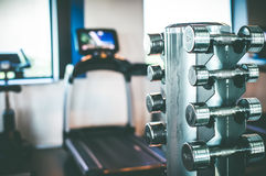 Stand with a dumbbell Royalty Free Stock Images