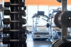 Stand with a dumbbell in the gym.  Royalty Free Stock Images