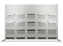 Stand with empty shelves. 3d render Stock Photography