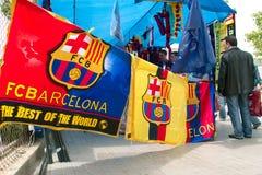 stand för stadion för barcelona fc nästa till Arkivfoton