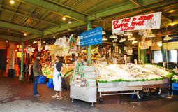 Stand at famous Pike Place market in Seattle Royalty Free Stock Photos