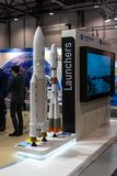 The stand of the first commercial launch service provider Arianespace and models of rockets Soyuz and Ariane 5. Royalty Free Stock Photos