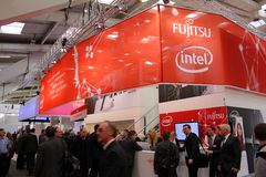 Stand of Fujitsu Intel Stock Image