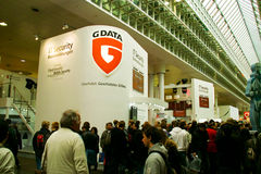 Stand of G-Data on CEBIT computer expo. HANNOVER, GERMANY - MARCH 5: stand of G-Data on March 5, 2011 in CEBIT computer expo, Hannover, Germany. CeBIT is the Royalty Free Stock Image