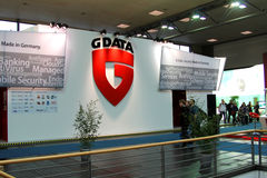 Stand of G-Data in CEBIT computer expo. HANNOVER, GERMANY - MARCH 5: stand of G-Data on March 10, 2012 in CEBIT computer expo, Hannover, Germany. CeBIT is the Stock Photo