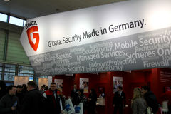 Stand of G-Data in CEBIT computer expo. HANNOVER, GERMANY - MARCH 5: stand of G-Data on March 10, 2012 in CEBIT computer expo, Hannover, Germany. CeBIT is the Stock Photography