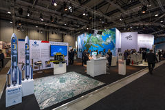 The stand of German Aerospace Center (DLR). BERLIN, GERMANY - JUNE 01, 2016: The stand of German Aerospace Center (DLR). Exhibition ILA Berlin Air Show 2016 stock images