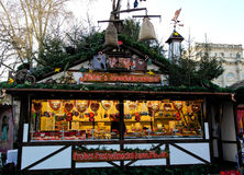 Stand with gingerbread and sweets on the christmas fair Stock Image