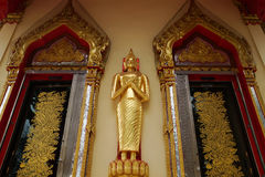 The stand gold buddha Stock Image