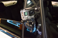 Stand by GoPro. Action Camera GoPro Hero on the safety car BMW M4 Coupe DTM. Stock Photos