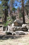 Boulders in the Forest near Big Bear Lake. A stand of granite boulders among the pine trees in a campsite near Big Bear Lake in California Stock Photo