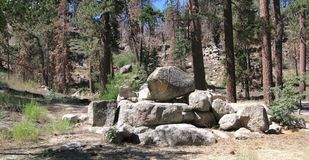 Boulders in the Forest near Big Bear Lake. A stand of granite boulders among the pine trees in a campsite near Big Bear Lake in California Royalty Free Stock Photography