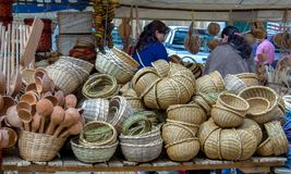 Stand of handcrafted baskets at a market stock photography