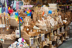 Stand of handicrafts. Of the woods stock photos