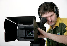 Stand HD-camcorder. Cameraman work with stand high-definition camcorder with compendium Stock Photos