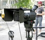 Stand hd-camcorder on nature. Stand high-definition camera in nature at break time Stock Photo
