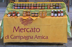 Stand with jars of jam at the fair in Bergamo Royalty Free Stock Images