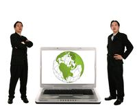 Stand Beside Laptop With 3D Globe Royalty Free Stock Images