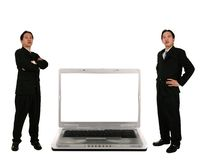 Stand Beside Laptop With Blank Royalty Free Stock Photography
