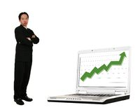 Stand Beside Laptop With Stock Royalty Free Stock Photography