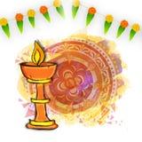 Stand-Lit-Lampe für Diwali-Feier Stockfotografie