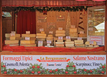 Stand with many sorts of cheese at the christmas Stock Photography