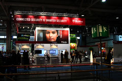 Stand of McAfee in CEBIT computer expo Royalty Free Stock Images