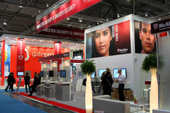 Stand of McAfee in CEBIT computer expo Stock Photography