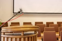 Pulpit. Microphone. Hall stock image